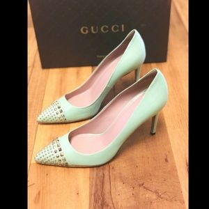 GUCCI SHOES STUDDED TEAL LEATHER Size 38.5